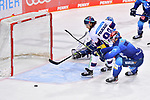 Kris Foucault (Nr.98 - Eisbären Berlin) und Morgan Ellis (Nr.4 - ERC Ingolstadt) vor Torwart Michael Garteig (Nr.34 - ERC Ingolstadt) beim Spiel im Halbfinale der DEL, ERC Ingolstadt (dunkel) - Eisbaeren Berlin (hell).<br /> <br /> Foto © PIX-Sportfotos *** Foto ist honorarpflichtig! *** Auf Anfrage in hoeherer Qualitaet/Aufloesung. Belegexemplar erbeten. Veroeffentlichung ausschliesslich fuer journalistisch-publizistische Zwecke. For editorial use only.