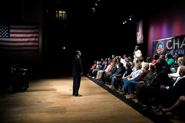 """March 26, 2008. Greensboro, NC.. US Senator  Barack Obama continued his campaign for the presidency with a """"town hall"""" style rally, where he spoke for approximately 20 minutes and then spent almost an hour answering questions from the crowd.."""