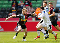 29th May 2021; Twickenham Stoop, London, England; English Premiership Rugby, Harlequins versus Bath; Green of Harlequins positions to tackle Ben Spencer of Bath