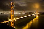 United States of America, California, San Francisco: Golden Gate Bridge at dawn | Vereinigte Staaten von Amerika, Kalifornien, San Francisco: The Golden Gate Bridge zur Morgendaemmerung