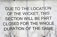 Warning signage ahead of Essex Eagles vs Sussex Sharks, Royal London One-Day Cup Cricket at The Cloudfm County Ground on 30th April 2019