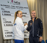 Bratislava, Slovenia, April 21, 2017,  FedCup: Slovakia-Netherlands, Draw ceremony, Second rubber: Sramkova vs Bertens (R)<br /> Photo: Tennisimages/Henk Koster