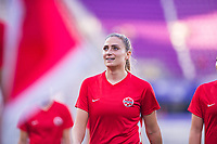 ORLANDO, FL - FEBRUARY 21: Shelina Zadorsky #4 of the CANWNT warming up before a game between Argentina and Canada at Exploria Stadium on February 21, 2021 in Orlando, Florida.