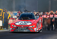 Feb 7, 2020; Pomona, CA, USA; NHRA funny car driver Alexis DeJoria during qualifying for the Winternationals at Auto Club Raceway at Pomona. Mandatory Credit: Mark J. Rebilas-USA TODAY Sports