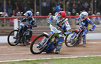 Heat 5: David Mason (red), Alfie Bowtell (blue) and Mark Baseby (white)<br /> <br /> Photographer Rob Newell/CameraSport<br /> <br /> National League Speedway - Lakeside Hammers v Eastbourne Eagles - Lee Richardson Memorial Trophy, First Leg - Friday 14th April 2017 - The Arena Essex Raceway - Thurrock, Essex<br /> © CameraSport - 43 Linden Ave. Countesthorpe. Leicester. England. LE8 5PG - Tel: +44 (0) 116 277 4147 - admin@camerasport.com - www.camerasport.com