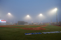 General view of a fog delay during a Brooklyn Cyclones NY-Penn League game against the Tri-City ValleyCats on August 17, 2019 at MCU Park in Brooklyn, New York.  Brooklyn defeated Tri-City 2-1.  (Mike Janes/Four Seam Images)
