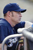 Tyler Houston of the Milwaukee Brewers before a 2002 MLB season game against the Los Angeles Dodgers at Dodger Stadium, in Los Angeles, California. (Larry Goren/Four Seam Images)