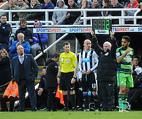Jonjo Shelvey of Newcastle United prepares to come on to face his former team during the Barclays Premier League match between Newcastle United and Swansea City played at St. James' Park, Newcastle upon Tyne, on the 16th April 2016