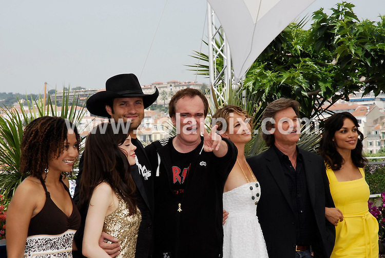 **ALL ROUND PICTURES FROM SOLARPIX.COM**.**WORLDWIDE SYNDICATION RIGHTS**.Photocall for 'Death Proof' Day 7 of the Cannes Film Festival,Cannes,France.22 May 2007.This pic.Sydney Tamiia Poitier, Rose McGowan, Quentin Tarantino,Zoe Bell Kurt Russell and Rosario Dawson.JOB REF: 3981         JWC        DATE:22.5.07.**MUST CREDIT SOLARPIX.COM OR DOUBLE FEE WILL BE CHARGED* *UNDER NO CIRCUMSTANCES IS THIS IMAGE TO BE REPRODUCED FOR ANY ONLINE EDITION WITHOUT PRIOR PERMISSION*