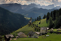 The Ladino village of Wengen in Lavalle perches on a steep hillside in the Dolomites.  The community has its own language although most residents speak Italian, German and come children know a bit of English.