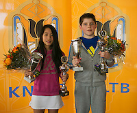Rotterdam, The Netherlands, 07.03.2014. NOJK ,National Indoor Juniors Championships of 2014, 12and 16 years, Winner girls 12 years Lian Tran (NED) and boys 12 years Jens Hoogendam, (NED)<br /> Photo:Tennisimages/Henk Koster