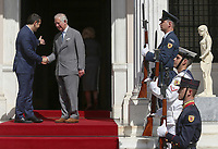 Pictured: Prince Charles and Prime Minister Alexis Tsipras in Athens, Greece. Wednesday 09 May 2018 <br /> Re: Official visit of HRH Prnce Charles with Greek Prime Minister Alexis at the Maximos Mansion (Megaro Maximou) in Athens, Greece.