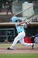 Ryan Scott (15) of the  Inland Empire 66ers bats against the Stockton Ports at San Manuel Stadium on May 26, 2019 in San Bernardino, California. (Larry Goren/Four Seam Images)