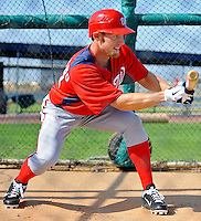 24 February 2012: Washington Nationals' pitcher Stephen Strasburg squares to bunt during batting practice at the Carl Barger Baseball Complex in Viera, Florida. Mandatory Credit: Ed Wolfstein Photo