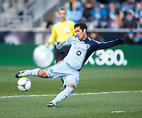 Benny Feilhaber (10) of Sporting Kansas City takes a shot during the game at PPL Park in Chester, PA.  Kansas City defeated Philadelphia, 3-1.