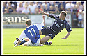 23/08/2003                   Copyright Pic : James Stewart.File Name : stewart-falkirk v qots 08.WILLIE GIBSON AND JOHN HUGHES CHALLENGE FOR THE BALL......James Stewart Photo Agency, 19 Carronlea Drive, Falkirk. FK2 8DN      Vat Reg No. 607 6932 25.Office     : +44 (0)1324 570906     .Mobile  : +44 (0)7721 416997.Fax         :  +44 (0)1324 570906.E-mail  :  jim@jspa.co.uk.If you require further information then contact Jim Stewart on any of the numbers above.........