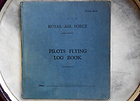 BNPS.co.uk (01202) 558833<br /> Pic:  ZacharyCulpin/BNPS<br /> <br /> Pictured: One of Flight Officer Joseph Staples log book's<br /> <br /> The fascinating logbooks of a hero Spitfire pilot who escorted Winston Churchill over the Rhine have been discovered during a house clearance.<br /> <br /> Flight Officer Joseph Staples, of 74 Squadron, 145 Wing, racked up hundreds of missions during World War Two.<br /> <br /> In early 1945, he flew alongside Allied bombers on German raids to protect them from the constant Luftwaffe threat.<br /> <br /> His dangerous sorties were all recorded in his meticulously-kept logbooks alongside very matter-of-fact descriptions of them.