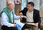 California Gov. Jerry Brown and Nevada Gov. Brian Sandoval talk following the 17th annual Lake Tahoe Summit conference at Sand Harbor, near Incline Village, Nev., on Monday, Aug. 19, 2013. <br />