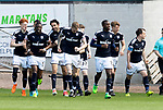 Dundee v St Johnstone…21.04.18…  Dens Park    SPFL<br />Sofien Moussa celebrates his goal<br />Picture by Graeme Hart. <br />Copyright Perthshire Picture Agency<br />Tel: 01738 623350  Mobile: 07990 594431