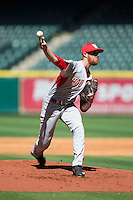 Houston Cougars starting pitcher Andrew Lantrip (13) delivers a pitch to the plate against the Texas Tech Red Raiders at Minute Maid Park on February 26, 2016 in Houston, Texas.  The Red Raiders defeated the Cougars 3-2 in game one of the 2016 Shriners Hospitals for Children College Classic.  (Brian Westerholt/Four Seam Images)