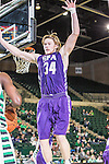 Stephen F. Austin Lumberjacks forward Jacob Parker (34) in action during the game between the Stephen F. Austin Lumberjacks and the North Texas Mean Green at the Super Pit arena in Denton, Texas. SFA defeats UNT 87 to 53.