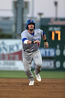Mikey White (5) of the Stockton Ports runs the bases during a game against the Lancaster JetHawks at The Hanger on May 12, 2017 in Lancaster, California. Lancaster defeated Stockton, 7-2. (Larry Goren/Four Seam Images)