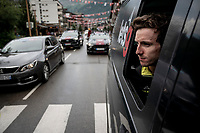 Adam Yates (GBR/Mitchelton-Scott) wondering in the teamcar after the race was stopped at the top of the Col de l'Iseran (HC/2751m/13km@7.3%) because of landslides further up the road (after a severe hail storm in Tignes)<br /> <br /> Stage 19: Saint-Jean-de-Maurienne to Tignes (126km)<br /> 106th Tour de France 2019 (2.UWT)<br /> <br /> ©kramon