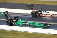 Sep 4, 2017; Clermont, IN, USA; NHRA top fuel driver Kebin Kinsley (near) races alongside Clay Millican during the US Nationals at Lucas Oil Raceway. Mandatory Credit: Mark J. Rebilas-USA TODAY Sports