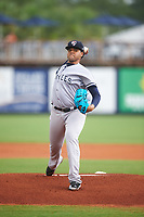 Tampa Yankees relief pitcher Jose Mesa (52) delivers a warmup pitch during the first game of a doubleheader against the Charlotte Stone Crabs on July 18, 2017 at Charlotte Sports Park in Port Charlotte, Florida.  Charlotte defeated Tampa 7-0 in a game that was originally started on June 29th but called to inclement weather.  (Mike Janes/Four Seam Images)