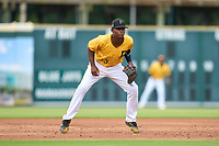 FCL Pirates Gold third baseman Norkis Marcos (13) during a game against the FCL Rays on July 26, 2021 at LECOM Park in Bradenton, Florida. (Mike Janes/Four Seam Images)