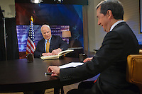 John McCain appears on Fox News Sunday with Chris  Wallace from a hotel room in Columbus, OH.