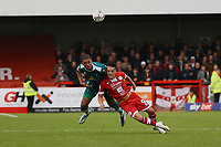 Coby Rowe of Sutton United and Tom Nichols of Crawley Town during Crawley Town vs Sutton United, Sky Bet EFL League 2 Football at The People's Pension Stadium on 16th October 2021