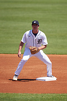 Detroit Tigers second baseman Colt Keith (4) waits for a throw during a Minor League Spring Training game against the Baltimore Orioles on April 14, 2021 at TigerTown in Lakeland, Florida.  (Mike Janes/Four Seam Images)