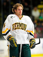 30 January 2010: University of Vermont Catamount forward Jonathan Higgins, a Senior from Stratham, NH, awaits the start of play prior to a game against the University of Maine Black Bears at Gutterson Fieldhouse in Burlington, Vermont. The Maine Black Bears and the Catamounts played to a 4-4 tie in the second game of their America East weekend series. Mandatory Credit: Ed Wolfstein Photo