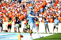 CHAPEL HILL, NC - SEPTEMBER 28: Beau Corrales #15 of the University of North Carolina strolls through the end zone after scoring a touchdown during a game between Clemson University and University of North Carolina at Kenan Memorial Stadium on September 28, 2019 in Chapel Hill, North Carolina.