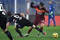 Albin Ekdal of UC Sampdoria and Gonzalo Villar of AS Roma compete for the ball during the Serie A football match between AS Roma and UC Sampdoria at Olimpico stadium in Roma (Italy), January 3rd, 2021. Photo Andrea Staccioli / Insidefoto