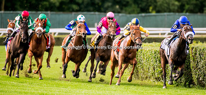 SEPT 07, 2019 :   Edisa with Flavien Prat, #1 green cap wins the $750,000 Jockey Club Oaks  Invitational Stakes, for 3 year old fillies going 1 3/8 mile on turf, at Belmont Park, in Elmont, NY, Sept 7, 2019. Dan Heary _ESW_CSM,