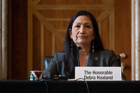 US Representative Deb Haaland (Democrat of New Mexico), speaks during the Senate Committee on Energy and Natural Resources hearing on her nomination to be Interior Secretary on Capitol Hill in Washington, DC, on February 23, 2021.<br /> Credit: Jim Watson / Pool via CNP /MediaPunch