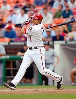 13 June 2006: Jose Vidro, second baseman for the Washington Nationals, at bat against the Colorado Rockies at RFK Stadium, in Washington, DC. The Rockies defeated the Nationals 9-2 in the second game of the four-game series...Mandatory Photo Credit: Ed Wolfstein Photo..