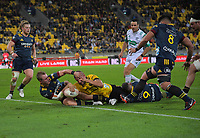 Dane Coles scores for the Hurricanes during the Super Rugby Aotearoa match between the Hurricanes and Highlanders at Sky Stadium in Wellington, New Zealand on Friday, 30 April 2020. Photo: Dave Lintott / lintottphoto.co.nz