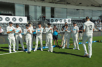 The Black Caps applaud player of the series Kyle Jamieson during day four of the second International Test Cricket match between the New Zealand Black Caps and Pakistan at Hagley Oval in Christchurch, New Zealand on Wednesday, 6 January 2021. Photo: Dave Lintott / lintottphoto.co.nz