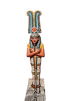 Ancient Egyptian statuette of Ptah Sokar Osiris, Late Period 25-26th Dynasty, (722-525 BC). Egyptian Museum, Turin. white background. Old Fund Cat 2466.