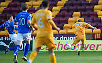 Motherwell v St Johnstone...28.01.12  .Henrik Ojamaa scores for Motherwell.Picture by Graeme Hart..Copyright Perthshire Picture Agency.Tel: 01738 623350  Mobile: 07990 594431