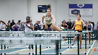 WINSTON-SALEM, NC - FEBRUARY 07: Anna Bush #2 of Wake Forest University wins her heat in the Women's 60m Hurdles at JDL Fast Track on February 07, 2020 in Winston-Salem, North Carolina.