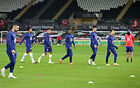 SWANSEA, WALES - NOVEMBER 12: The United States national team warming up before a game between Wales and USMNT at Liberty Stadium on November 12, 2020 in Swansea, Wales.
