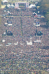 An aerial view of the Rally to Restore Sanity and/or Fear from the top of the Washington Monument