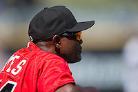Indianapolis Indians pitching coach Stan Kyles (41) watches the action from the top step of the dugout during the game against the Charlotte Knights at BB&T BallPark on June 21, 2015 in Charlotte, North Carolina.  The Knights defeated the Indians 13-1.  (Brian Westerholt/Four Seam Images)