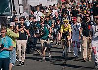 Geraint Thomas (GBR/SKY) escorted to the podium after finishing<br /> <br /> Stage 14: Saint-Paul-Trois-Châteaux > Mende (187km)<br /> <br /> 105th Tour de France 2018<br /> ©kramon