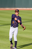 Bowling Green Hot Rods second baseman Ford Proctor (9) warms up in the outfield prior to a Midwest League game against the Cedar Rapids Kernels on May 2, 2019 at Perfect Game Field in Cedar Rapids, Iowa. Bowling Green defeated Cedar Rapids 2-0. (Brad Krause/Four Seam Images)