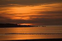 Europe/France/Picardie/80/Somme/Baie de Somme/ Le Crotoy: Coucher de  Soleil sur la Baie de Somme et la Pointe du Hourdel